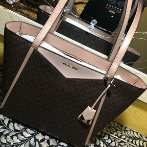 Micheal kors pink and brown leather bag